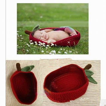 Red Apple Cocoon/Pod Crochet Sleeping Bag Great for Photography Prop