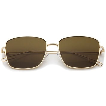 Classic Square Wire Metal Flat Lens Sunglasses A521