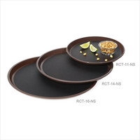 16 inch Round Non Skid Tray Brown Polycarbonate/Case of 12