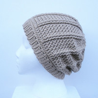 Textured Slouch Hat in Wheat, Unisex,  ready to ship. Free US Shipping with code OLYMPIA at checkout, ends 10/1/13.