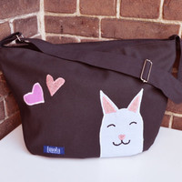 Bike crossbody bag bike messenger bag cycling bag applicated cute kitty cat animal sweet adorable gray smile hearts bag 1.1 BASIC COLLECTION