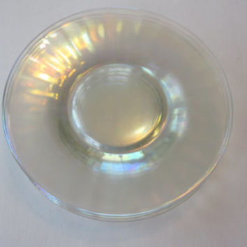 Vintage Iridescent Plates, Stretch Carnival Glass Plate 6 1/2, Set of 4, Small Dessert Plates, Ruffled Edge