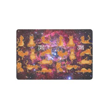 Autumn Fall welcome door mat doormat Charm Home Animal Anti-slip  Home Decor, Funny Yoga Cat in Galaxy Space Indoor Outdoor Entrance  Rubber Backing AT_76_7