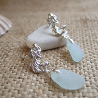 Mermaid earrings with Scottish sea glass, Sitting mermaid with sea foam sea glass mermaid's tear, sea glass earrings, mermaid earrings, gift