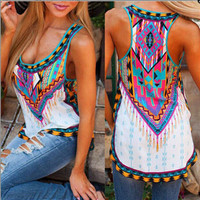 SIMPLE - Popular Fashionable Floral Sleeveless Casual Boho Top Shrit T-shirt Top Women Tank Vest Shirt T-shirt T-shirt b2173