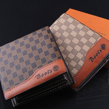 M18 Tengyue brand fashion mens plaid genuine leather standard wallets the men's money clip gift for man