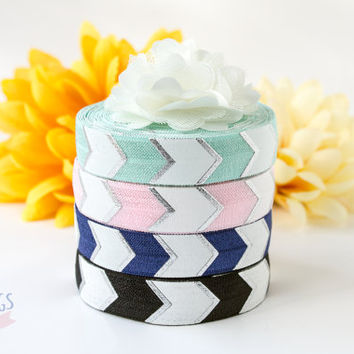 """Fold Over Elastic By The Yard - Silver Foil Metallic and White Chevron Print  - Navy 5/8"""" FOE - Webbing Ribbon Trim Hair Tie Band Material"""