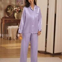 National Brushed Back Satin Pajamas - Misses, Womens