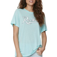 Young & Reckless Super Script Boyfriend T-Shirt - Womens Tee - Green
