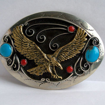 Vintage Turquoise Silver Belt Buckle,Eagle Belt Buckle,Southwestern Belt Buckle,Turquoise Coral Belt Buckle,Southwestern Buckle,Eagle,Bird