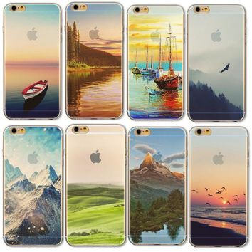 Silicone New York Empire Building Eiffel Tower Gradient Phone Cover Case for iPhone 6 6s Big Ben Deer Snow Mount