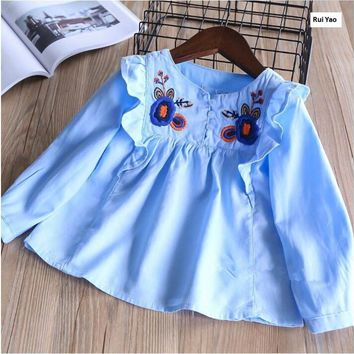 YB32028840 2018 Spring Fashion Baby Girls Blouse Embroidery Flower Girl Shirt Ruffles Full Sleeve Girls Clothes Girl Top