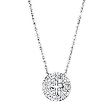 Elegant Vintage 1.7TCW French Pave Russian Lab Diamond Cross Necklace Pendant