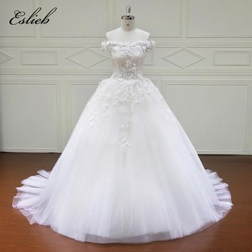 Eslieb High Quality Lace Wedding Dress Sleeveless Custom Made Bride Dresses Ball Gown vestidos de noiva 2018 Off the Shoulder