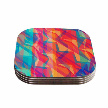 "Miranda Mol ""Triangle Opticals"" Pink Multicolor Coasters (Set of 4)"