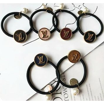 LV Louis Vuitton Trending Women Stylish Letter Circular Hair Rope Hair Band Accessories(6-Color) I13301-13