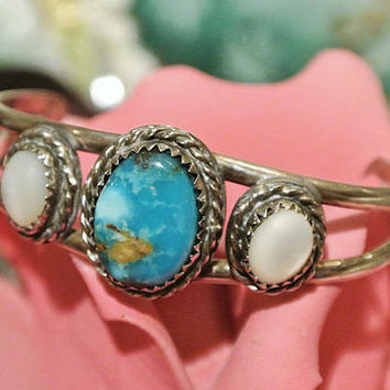 Kingman Turquoise Cuff MOP Mother of Pearl Cuff Child Baby Bracelet Sterling Silver Native American Navajo Tribe Tribal Old Pawn Artisan