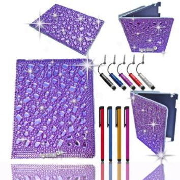 "PURPLE Jersey Bling Ipad Mini Case With HUGE 3D Gems, Stones, & Faux Pearls, Jersey Bling Crystal & Rhinestone Leather Folio with 360 Rotating Case Cover Protector for Ipad Mini Bundle with FREE 4"" Metallic Stylus & Mini Stylus Dust Plug (Purple 3D Bling)"