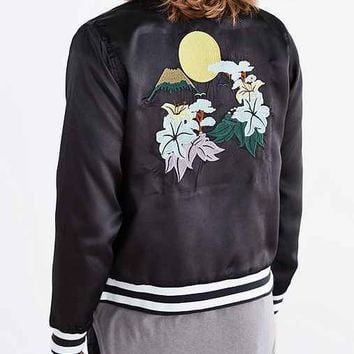 Vanishing Elephant Satin Bomber Jacket- Black