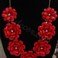 Red Necklace Seven Flower Necklace Statement Necklace Bib Necklace Rosette Necklace