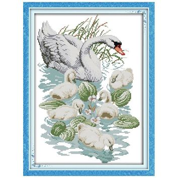 Swan Mother and Son Counted Cross Stitch 11CT 14CT Cross Stitch animals Cross Stitch Kits for Embroidery Home Decor Needlework
