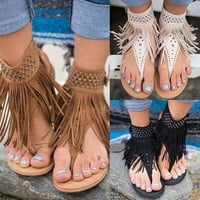 Womens Roma Gladiator Tassel Sandals Summer Casual Flat Fringe Shoes Style Goth