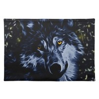 Wolf and stars cloth place mat