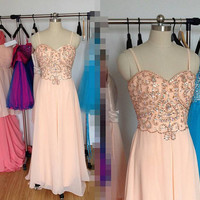Light Peach Sweetheart Prom Dress, Long Sexy Prom Dresses Formal Dress Evening Dress Wedding Party Dress 2015