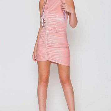 **Pink Velvet Ruched Mini Dress by Jaded London