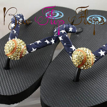 Softball Flip Flops Bling Rhinestone Buckle Player Mom Girl Boutique Sports Ribbon Flip Flops chooe your ribbon and team colors