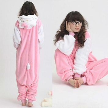 New Adult Costume White Sleeve Hello Kitty Cat Animal Japan Pajamas Cosplay Sleepwear