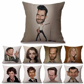Funny Caricature Comic Hollywood Celebrity Mr Bean Wills Home Decorative Pillow Case Cute Version Movie Star Messi Cushion Cover