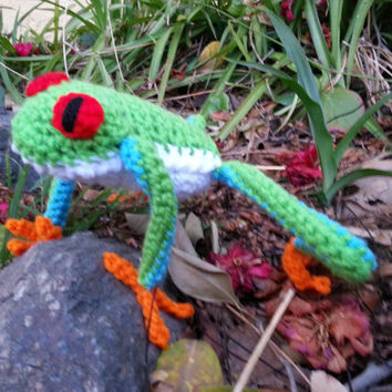 Crochet Poseable Red Eyed Tree Frog- Ready to Ship!