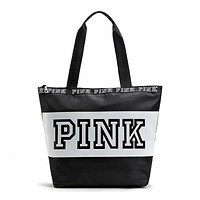 Women Waterproof Nylon Shoulder Bags Pink Letter Handbags Ladies Travel Duffle Beach Bag Designer Totes Shopping Bags Sac A Main