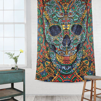 Psychedelic Tapestry 3d skull wall hanging alex grey dmt lsd Day of the dead