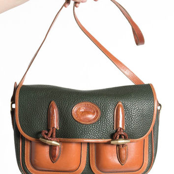 Vintage Dooney & Bourke Dark Green Pebbled Leather Toggle Messenger Bag