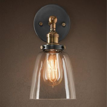 Factory Filament Clear Glass Cloche Wall Lamp