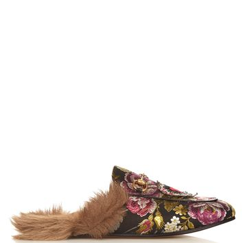 Princetown fur-lined floral-brocade loafers | Gucci | MATCHESFASHION.COM