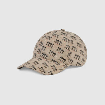 Gucci - Gucci stamp print canvas baseball hat