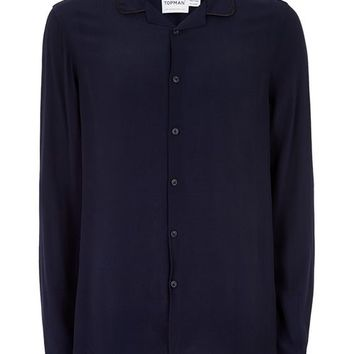 Navy Crepe Piped Shirt - New Arrivals - New In