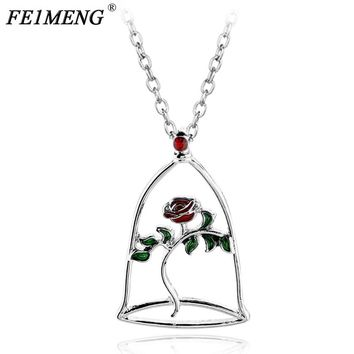 Red Rose Flower Necklace Beauty and the Beast  Charm Flower in Terrarium Pendant Necklaces For Women Fashion Collar Accessories
