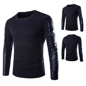 High Quality Brands New Autumn Winter Men'S Sweater Man O-Neck Jumpers Long Sleeve PU Leather Patchwork Pullover Male Puls Size