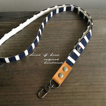 Nautical navy anchor unisex leather keychain key holder lanyard handmade zakka