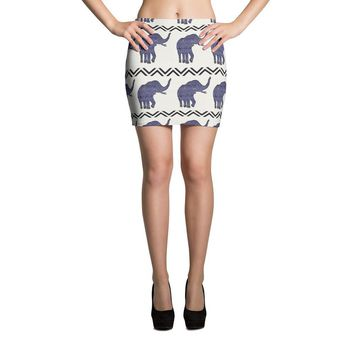 Purple Aztec Elephant Pattern Mini Skirt