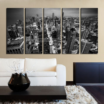 Large Wall Art CHICAGO Canvas Print - Chicago Skyline at Night from the John Hancock Building Black and White