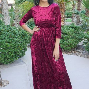 Anything For You Burgundy Velvet Long Sleeve Maxi Dress