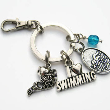 I Love Swimming Keychain, Swimmer Zipper Pull,  Personalized Accessory, Athletic Keychain Lanyard, Swim Team Gift, Sports Inspired