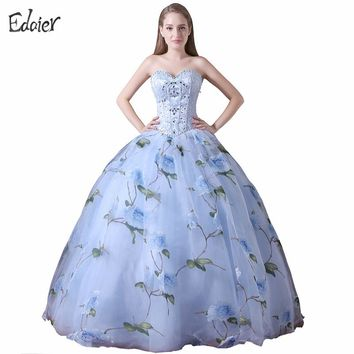 New Arrival Long Prom Dresses 2017 Ball Gown Sweetheart Beaded Sequined Prom Gown Floral Print Evening Dress Vestido De Festa