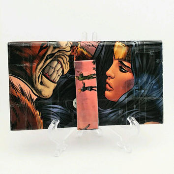 Cool Bi-fold Upcycled Wonder Woman Comic Book Wallet, Handmade Long Women's Wallet, Unique Wallets for Women, Ladies Wallet, Clutch Wallet