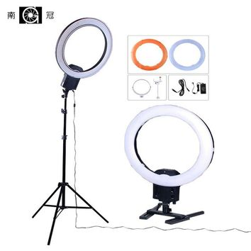"Nanguang CN-R640 Photography Lighting 19"" 640 LED 5600K Dimmable Camera Photo phone Ring Video Light Lamp & Tablet Tripod Stand"